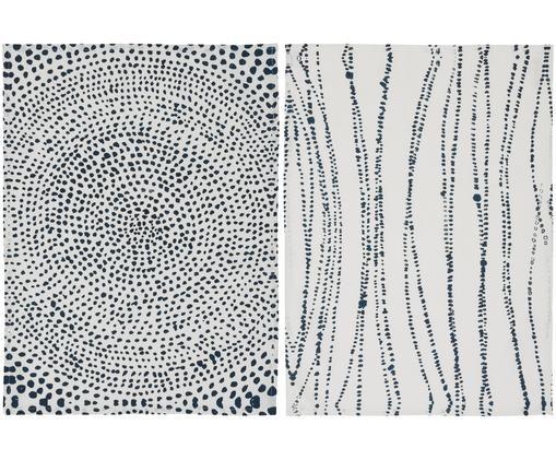 Set strofinacci Ruka, 2 pz., Cotone biologico, Anteriore: blu, bianco<br>Posteriore: bianco, P 50 x L 70 cm