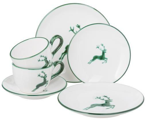 Serwis do kawy Classic Grüner Hirsch, 6 elem., Ceramika, Zielony, biały, Różne rozmiary