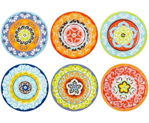 Ensemble d'assiettes plates Nador, 6élém., Multicolore