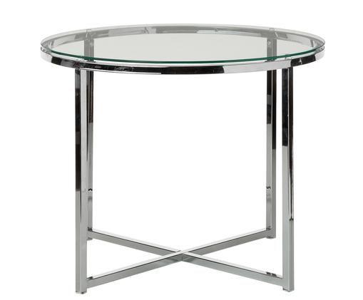 Tavolino Matheo, Struttura: metallo cromato, Piano d'appoggio: vetro temperato, Trasparente, metallo cromato, Ø 55 x A 45 cm