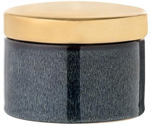 Scatola custodia Emilia, Contenitore: blu scuro, Coperchio: dorato