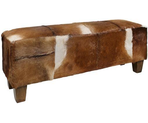 Sitzbank Bangku mit Ziegenfell, Bezug: Ziegenfell, Füße: Teakholz, Bezug: Ziegenfell, Braun und Weiß<br>Füße: Teakholz, 110 x 40 cm
