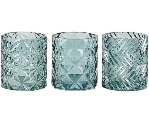 Teelichthalter-Set Rosie, 3-tlg., Glas, Grün, leicht transparent, Ø 8 x H 9 cm