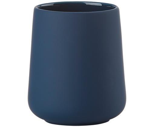 Kubek na szczoteczki Clean, Kamionka, Niebieski royal, Ø 8 x W 10 cm