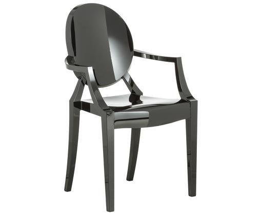 Design-Armlehnstuhl Louis Ghost, Polykarbonat, Schwarz glänzend, 54 x 94 cm