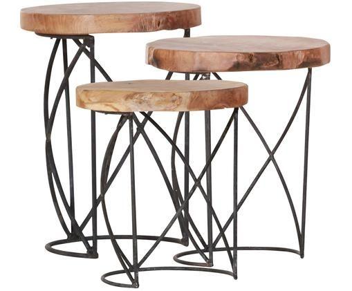 Set tavolini Lina, 3 pz., Legno di teak, nero