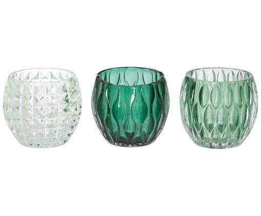 Set di 3 portacandele Aliza, Vetro, Verde trasparente, Ø 10 x Alt. 9 cm