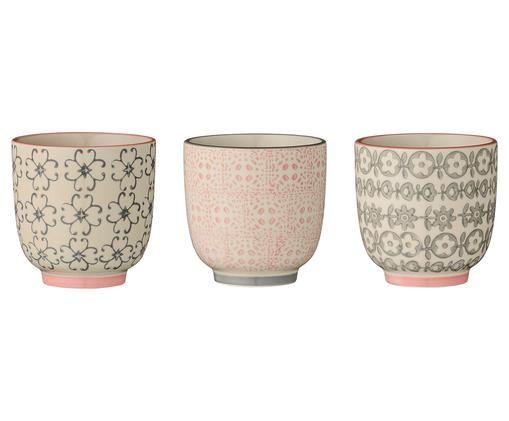Ensemble de mugs espresso Cécile, 3 élém., Rose, gris