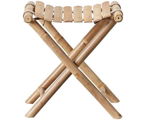 Sgabello pieghevole da giardino in bambù Mandisa, Legno di bambù, finitura naturale, Legno di bambù, Larg. 40 x Alt. 42 cm