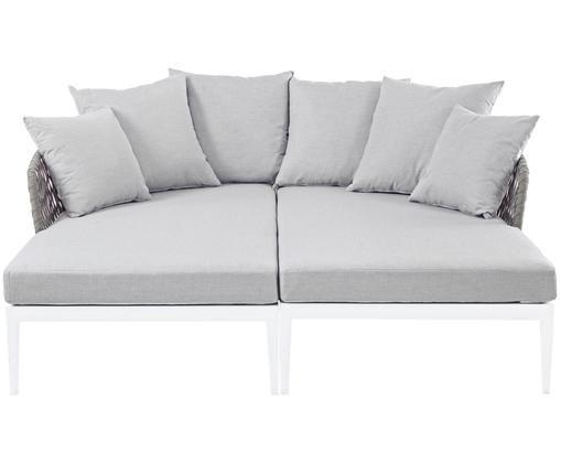 Łóżko ogrodowe Pelican, 2 szt., Rama: biały Siedzisko i oparcie: taupe Pokrycie: szary, S 182 x G 179 cm