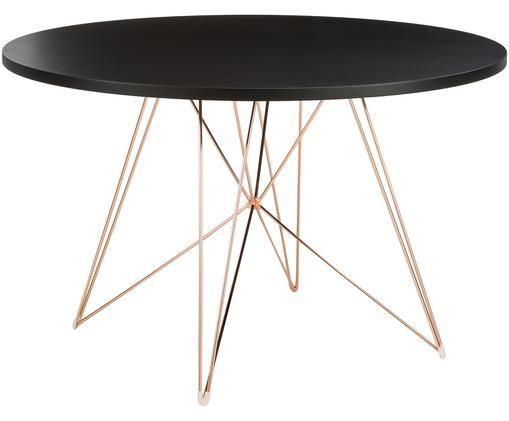 Runder Esstisch XZ3 mit Trestle Beinen, Tischplatte: Mitteldichte Holzfaserpla, Beine: Stahldraht, verkupfert, Kupfer, Ø 120 x H 74 cm