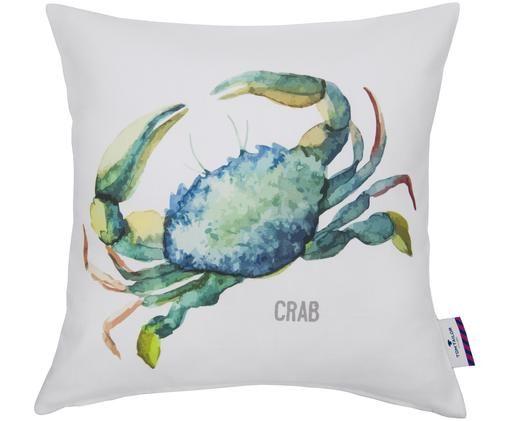 Federa arredo Crab, Cotone, Bianco con multicolore sovrastampa, Larg. 40 x Lung. 40 cm
