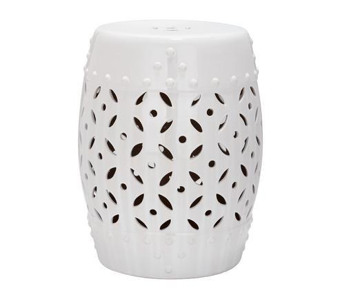 In- und Outdoor-Hocker / Beistelltisch Philine, Keramik, glasiert, Weiss, Ø 33 x H 47 cm