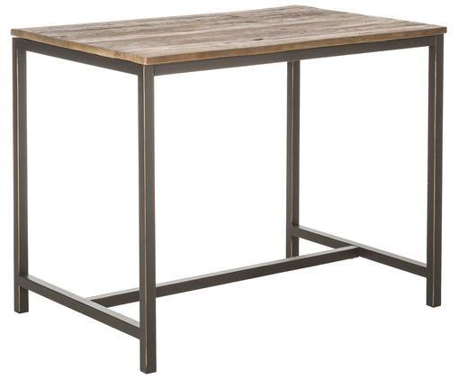Tavola da bar con piano in legno massello Vintage, Struttura: acciaio verniciato a polv, Piano d'appoggio: legno di olmo, spazzolato, Olmo, nero, Larg. 130 x Alt. 104 cm
