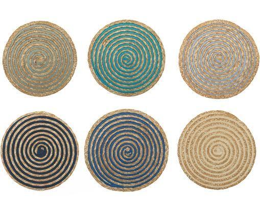 Runde Tischsets Baita aus Bast, 6er-Set