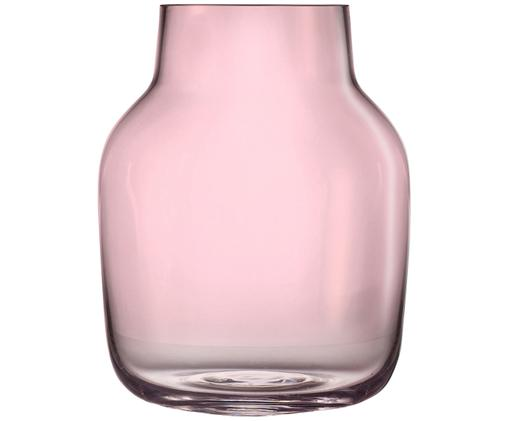 Vaso in vetro soffiato Silent, Vetro, Rosa, Alt. 19 cm