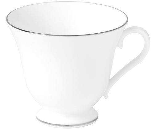 Tazza da tè Signet Platinum, Porcellana Fine Bone China, Bianco, argento, Ø 8 x A 8 cm