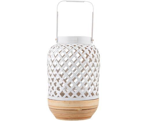 Windlicht Breeze, Gestell: Weiß, Bambus Glaseinsatz: Transparent