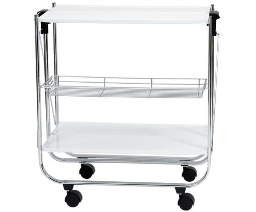 Wózek barowy Irina, Blat: metal, lakierowany, Nogi: metal, chromowany, Biały, srebrny, 68 x 40 cm