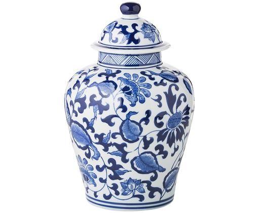 Vaso con coperchio Annabelle in porcellana, Blu, bianco
