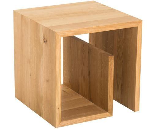 Tavolino Cubus G, Legno di quercia, massiccio, oliato, Legno di quercia, L 42 x A 42 cm
