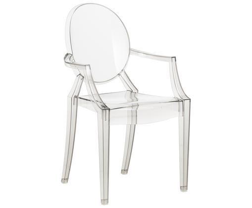 Krzesło z podłokietnikami Louis Ghost, Poliwęglan, Jasnoszary, transparentny, S 54 x W 94 cm
