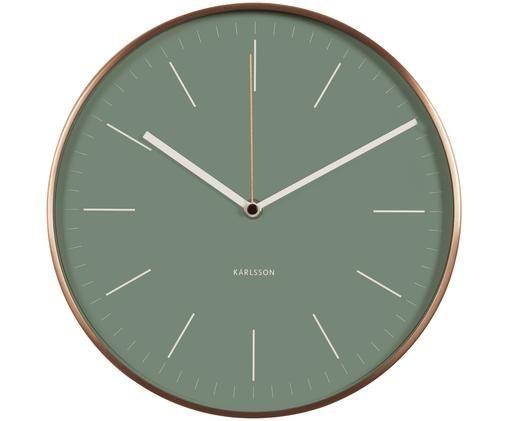 Orologio da parete Minimal, Quadrante: verde Cifre, puntatore: bianco Cornice: color rame