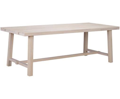 Grande tavolo da pranzo in legno massiccio Brooklyn, Legno di quercia, sbiancato