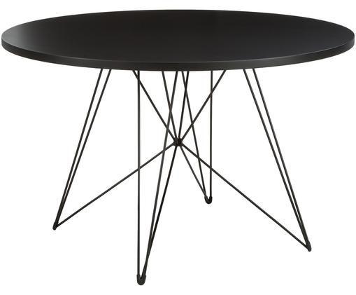 Tavolo da pranzo rotondo con gambe a cavalletto XZ3, Piano d'appoggio: fibra di media densità co, Gambe: filo di acciaio verniciat, Nero, Ø 120 x Alt. 74 cm
