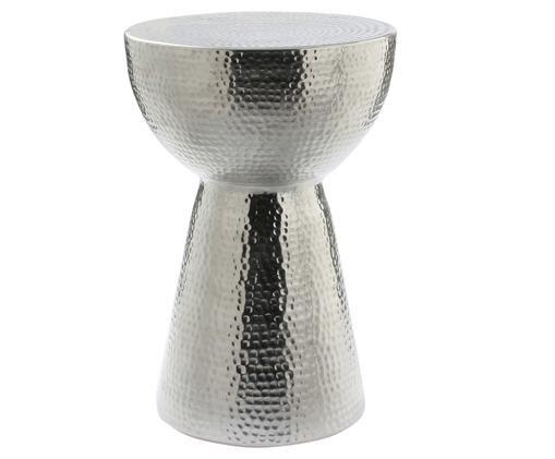 Hocker Louis mit gehämmerter Oberfläche, Aluminium gehämmert, Silber, Ø 32 x H 47 cm
