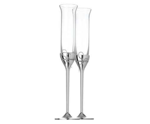 Bicchiere da champagne Love Knots 2 pz, Arco: metallo, argentato, Argento, trasparente, Ø 6 x Alt. 27 cm