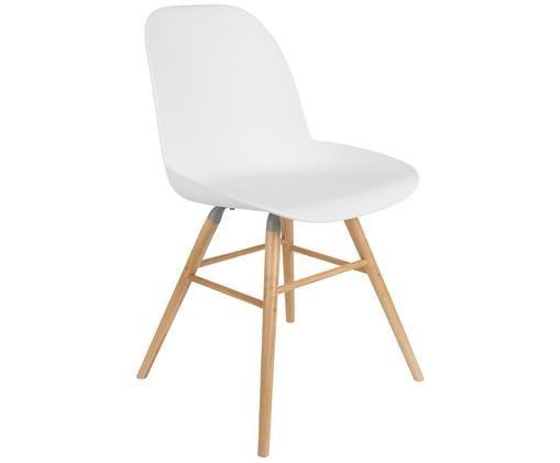 Stuhl Albert Kuip, Sitzfläche: 100% Polypropylen, Füße: Eschenholz, Sitzfläche: Weiß<br>Füße: Eschenholz, 49 x 82 cm