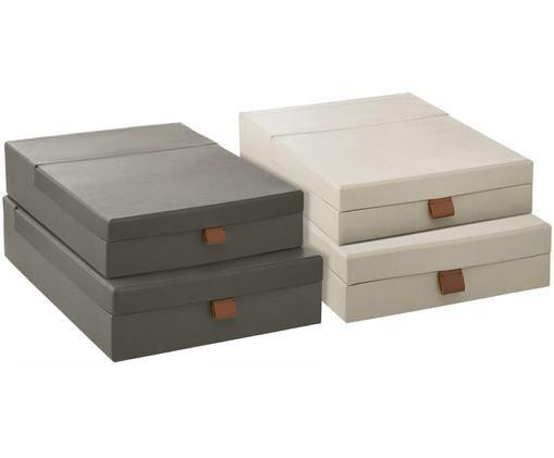 Set scatole custodie Boxed, 4 pz., Cartone, carta, Verde chiaro, grigio, Diverse dimensioni
