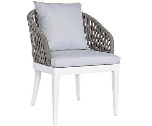 Garten-Armlehnstuhl Pelican, Rahmen: Weiß Seiten und Rückenlehne: Taupe  Bezüge: Grau