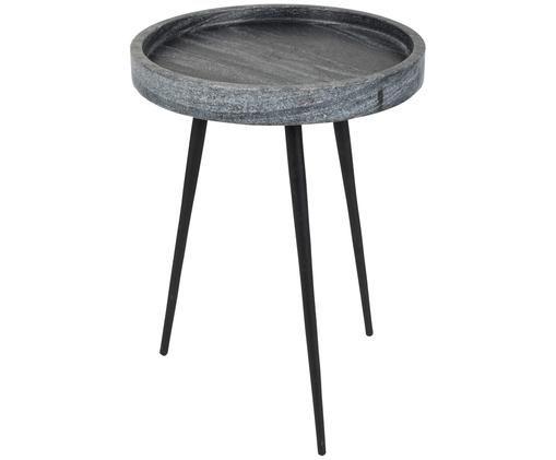 Bijzettafel Karrara, Tafelblad: marmer, Poten: gepoedercoat metaal, Tafelblad: gemarmerd grijs. Poten: zwart, Ø 33 x H 45 cm