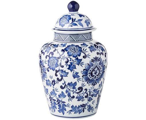 Vaas met deksel Annabelle uit porselein, Blauw, wit