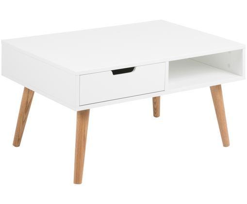 Mesa de centro Mitra, estilo escandinavo, Tablero: fibras de densidad media , Patas: madera de roble aceitada, Blanco, roble, An 80 x Al 46 cm