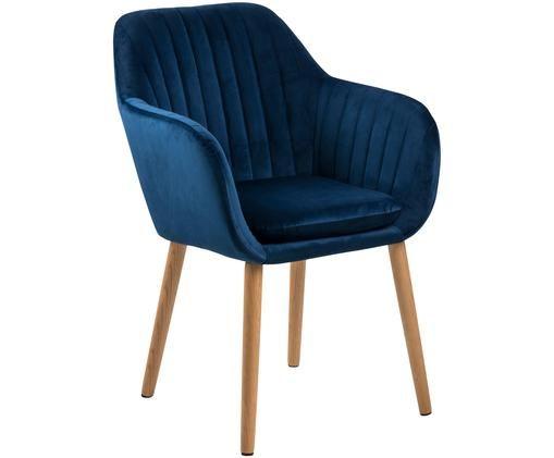 Krzesło z podłokietnikami z aksamitu Emilia, Tapicerka: poliester (aksamit), Nogi: drewno dębowe, olejowane , Tapicerka: ciemnyniebieski Nogi: drewno dębowe, S 57 x G 59 cm