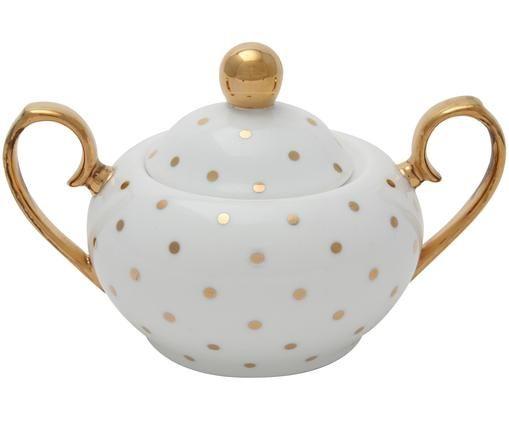 Zuckerdose Miss Golightly, Bone China, vergoldet, Weiß, Gold, Ø 9 x H 8 cm