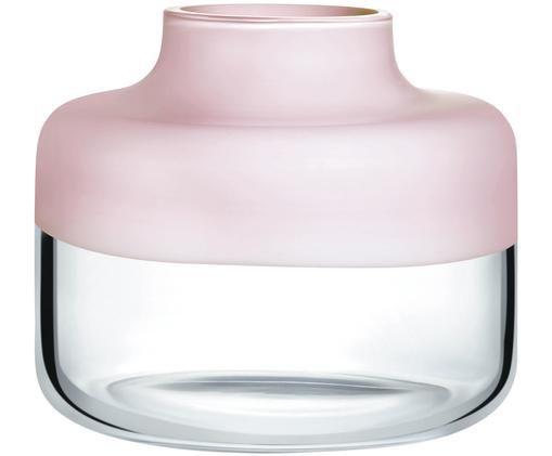 Handgefertigte Glas-Vase Magnolia, Obererteil: Rosa Untererteil: Transparent