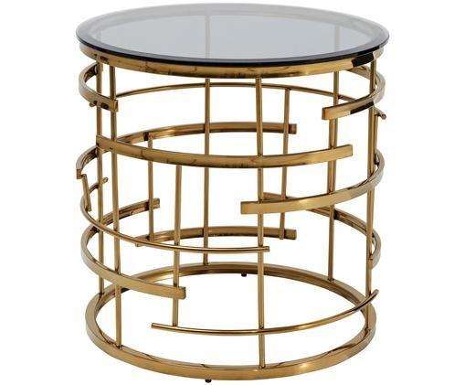 Runder Beistelltisch Jupiter mit Glasplatte, Gestell: Edelstahl, titanbeschicht, Tischplatte: Sicherheitsglas, Goldfarben, Ø 55 x H 55 cm