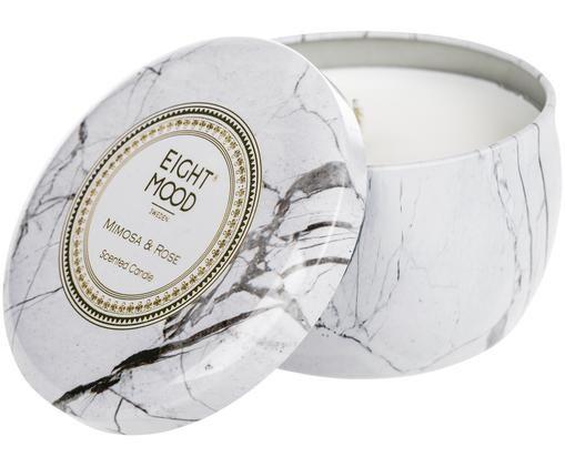 Duftkerze White Marble (Mimose & Rose), Behälter: Metall, Behälter: Weiß, marmoriert Wachs: Weiß, Ø 8 x H 5 cm