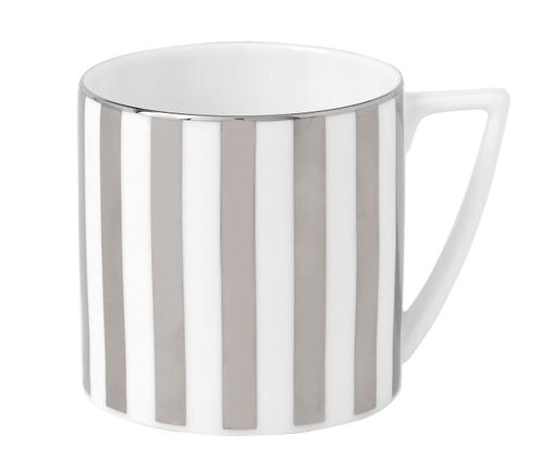 Tasse J. Conran Platinum, Porzellan, Weiß,Silber, Ø 8 x H 12 cm