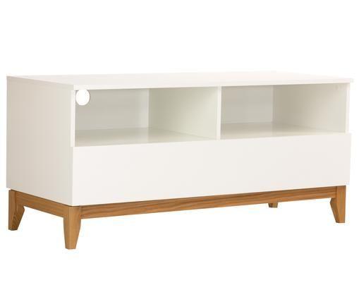 Mobile TV con piedini in legno Blanco, Piedini: legno di quercia, Bianco, marrone, Larg. 120 x Alt. 55 cm