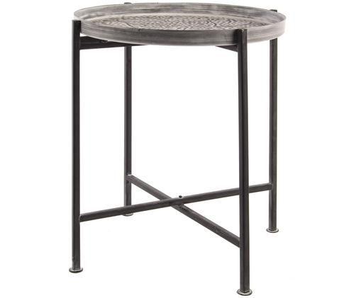 Tablett-Tisch Anil mit orientalischem Muster, Tablett: Aluminium, Gestell: Eisen, lackiert, Tablett: Cremetöne, metallisch, matt<br>Gestell: Schwarz, Ø 42 x H 48 cm