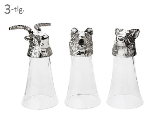 Set bicchieri Spirits Animali, 3 pz., Trasparente, argento