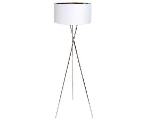 Vloerlamp Giovanna, Frame: verschroomd staal, Lampenkap: nylon, Frame: zilverkleurig. Lampenkap buitenkant: wit. Lampenkap binnenkant: goudk, Ø 45 x H 154 cm