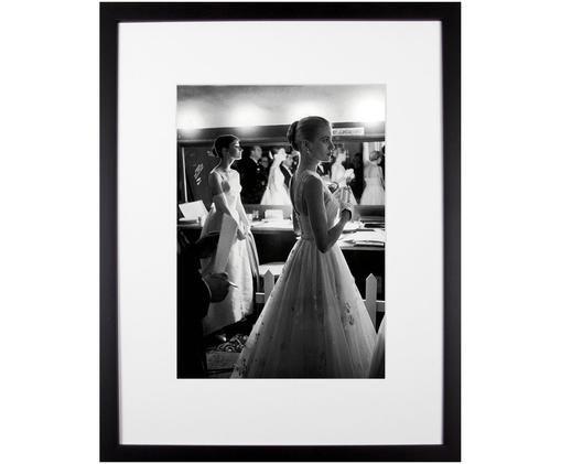 Oprawiony druk cyfrowy Grace Kelly & Audrey Hepburn, Ilustracja: czarny, biały Stelaż: czarny