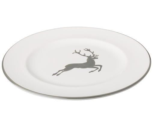 Piatto da dessert Gourmet Grauer Hirsch, Ceramica, Grigio, bianco, Ø 22 cm
