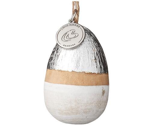 Jajko dekoracyjne Seline, Metal, drewno robinia, lakierowane, Robiniowa zieleń, biały, odcienie srebrnego, Ø 3 x W 5 cm